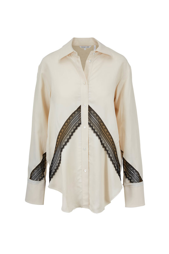 Helmut Lang Blanched Almond Lace Inset Blouse