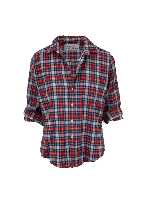 Frank & Eileen Barry Red & Light Gray Plaid Cotton Button Down