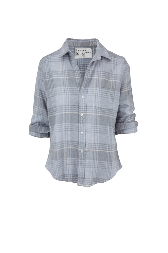 Frank & Eileen Barry Light Gray & White Plaid Button Down