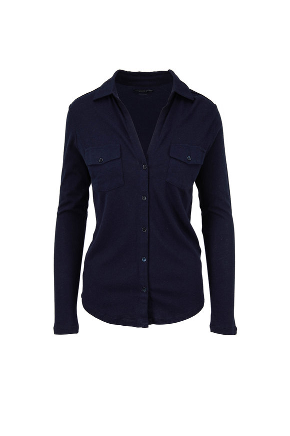 Majestic Navy Cotton & Cashmere Button Down
