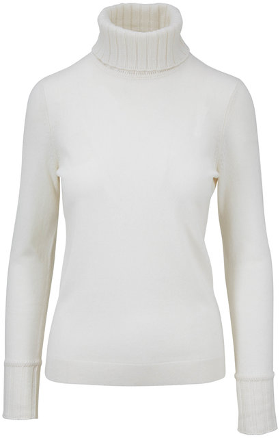 Kinross Ivory Cashmere Chunky Trim Turtleneck