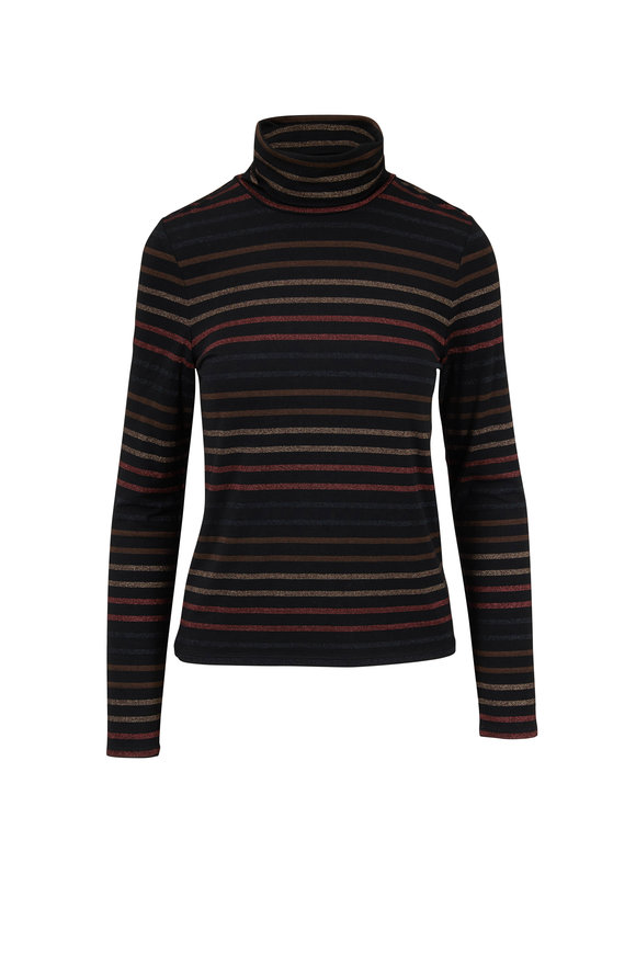 Veronica Beard Audrey Black Lurex Striped Turtleneck