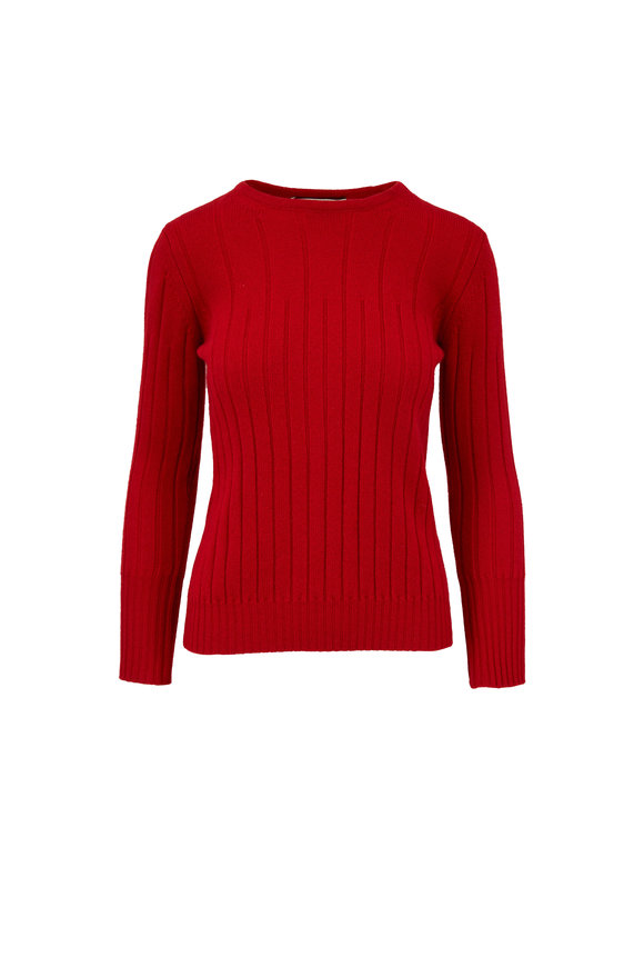 Rani Arabella Red Cashmere Ribbed Crewneck Sweater