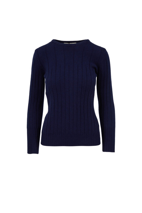 Rani Arabella Navy Cashmere Ribbed Crewneck Sweater