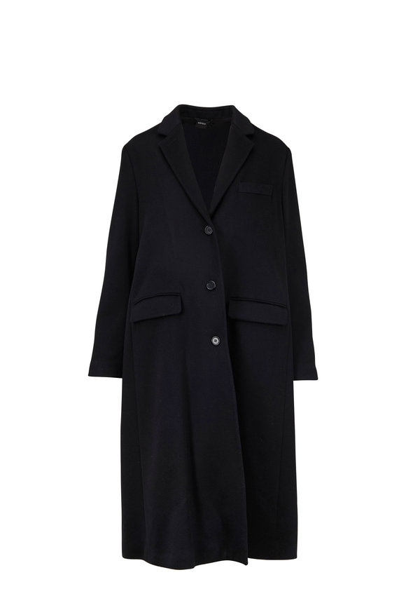 Aspesi Black Wool Double-Breasted Swing Coat