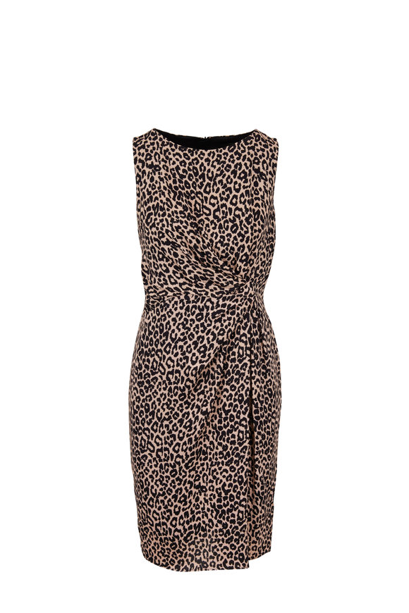 Paule Ka Beige & Black Leopard Printed Side Twist Dress