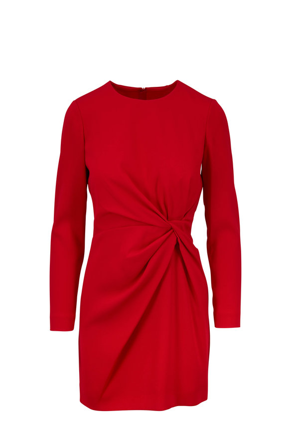 Paule Ka Red  Front Knot Mini Dress