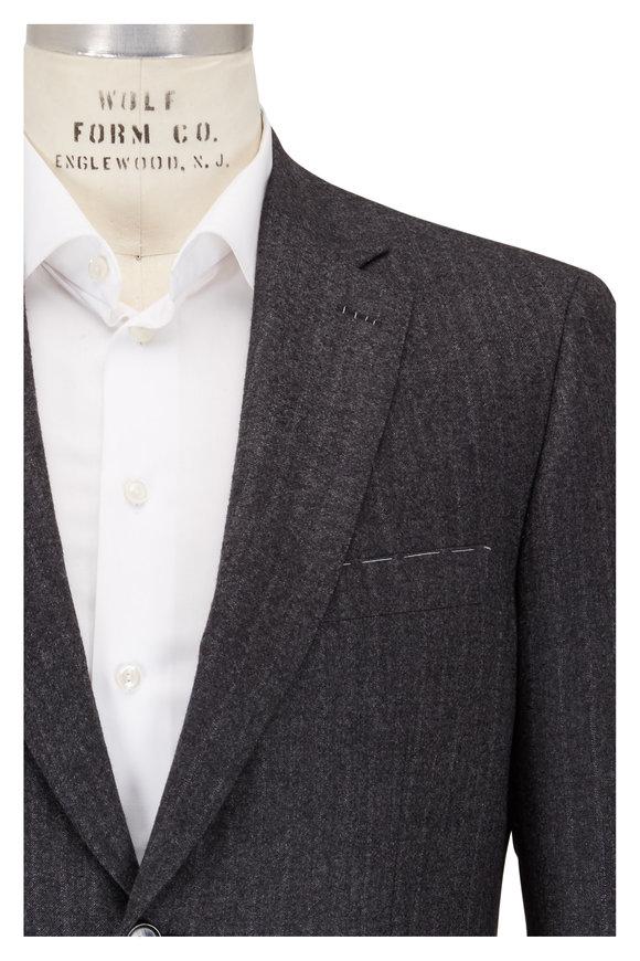 Brioni Charcoal Gray Cashmere Faint Striped Suit
