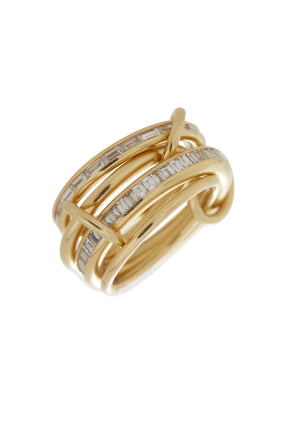 Spinelli Kilcollin 18K  Yellow Gold Four Linked Diamond Ring