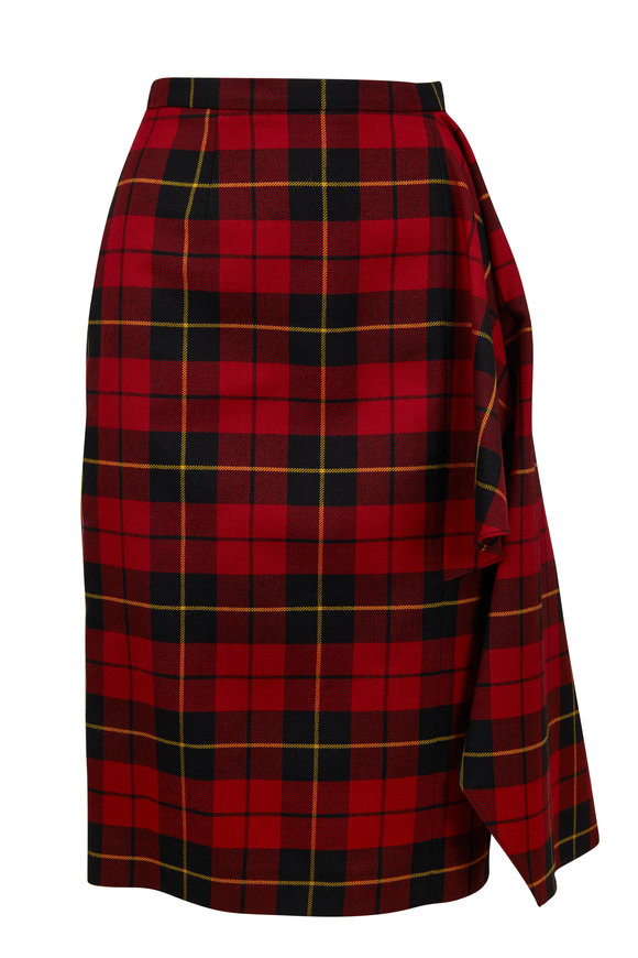 Michael Kors Collection Crimson Tartan Plaid Asymmetric Skirt