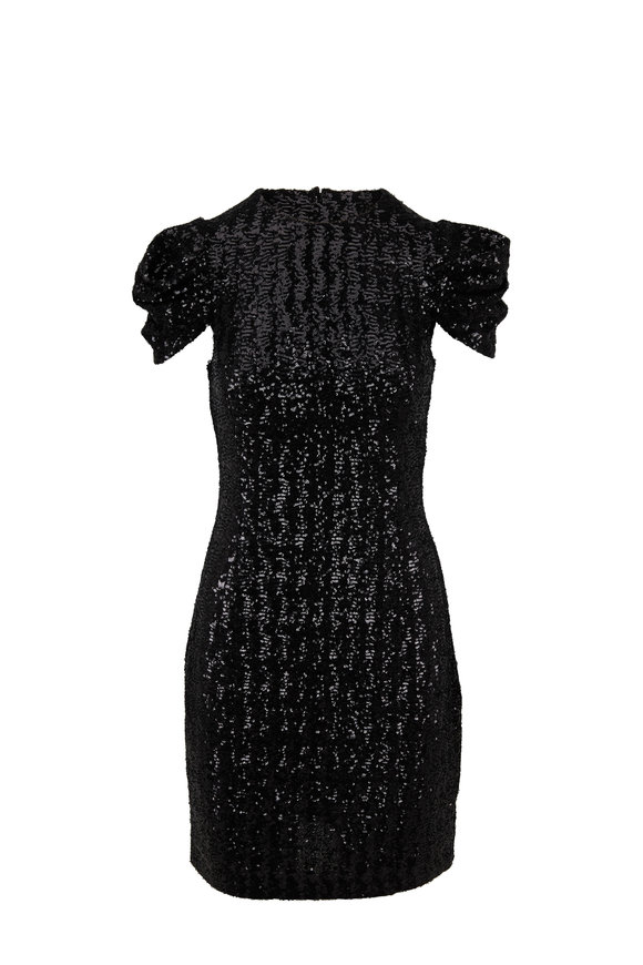 Michael Kors Collection Black Paillette Draped Short Sleeve Sheath Dress
