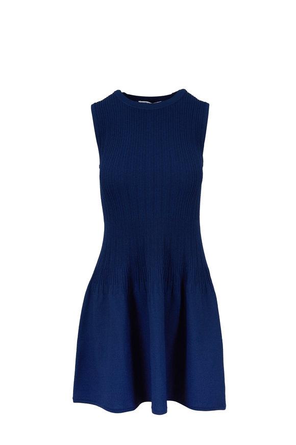 Elizabeth & James Rye Navy Ribbed Sleeveless Dress
