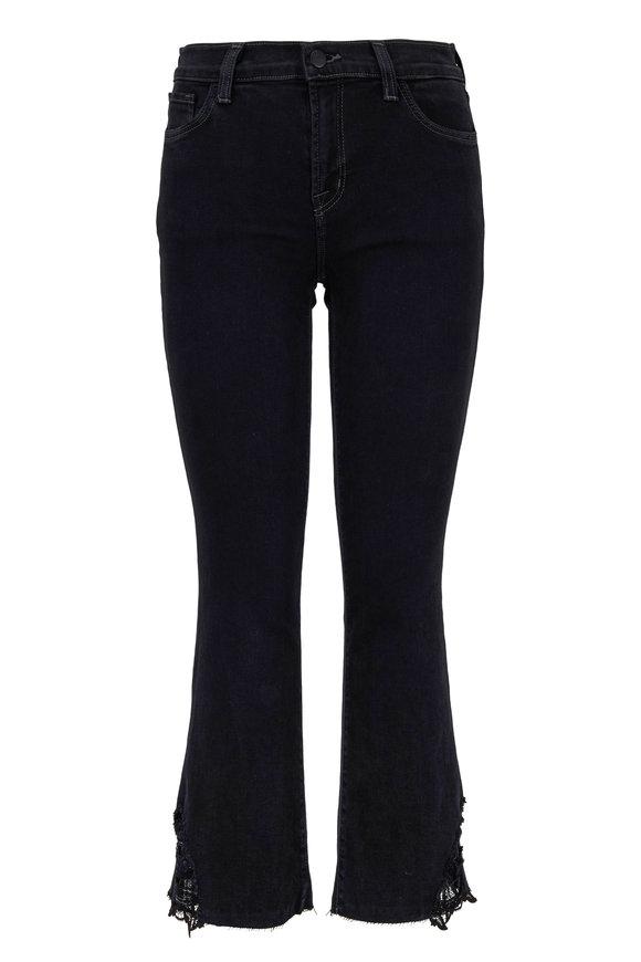 J Brand Selena Black Lace Mid-Rise Crop Boot Jean