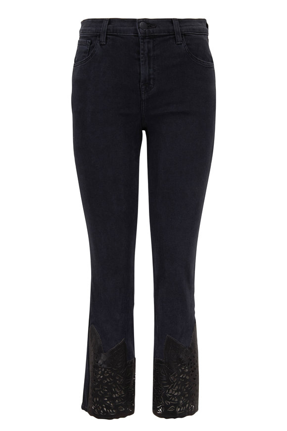 J Brand Ruby Black Laser Lace High-Rise Crop Jean