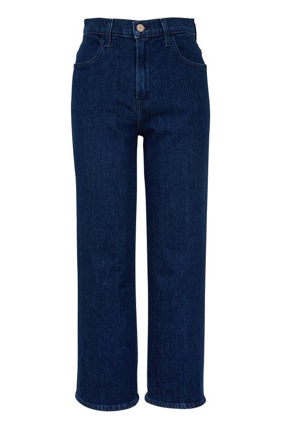 J Brand Joan Dark Wash High-Rise Wide Leg Crop Jean