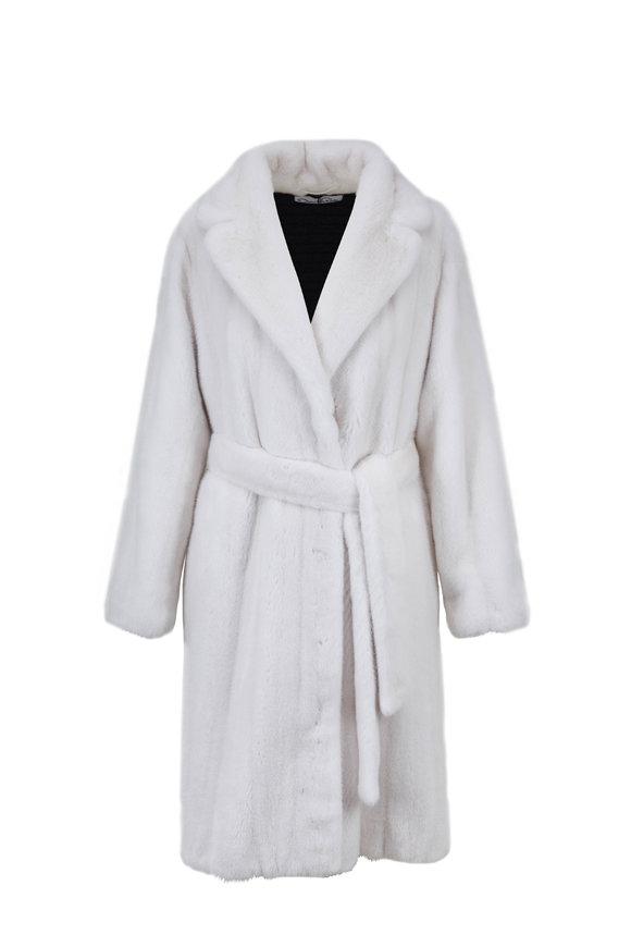 Oscar de la Renta Furs White Mink A-Line Belted Coat