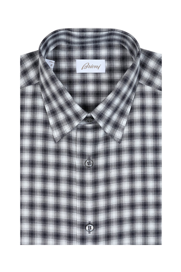 Brioni Gray Check Sport Shirt