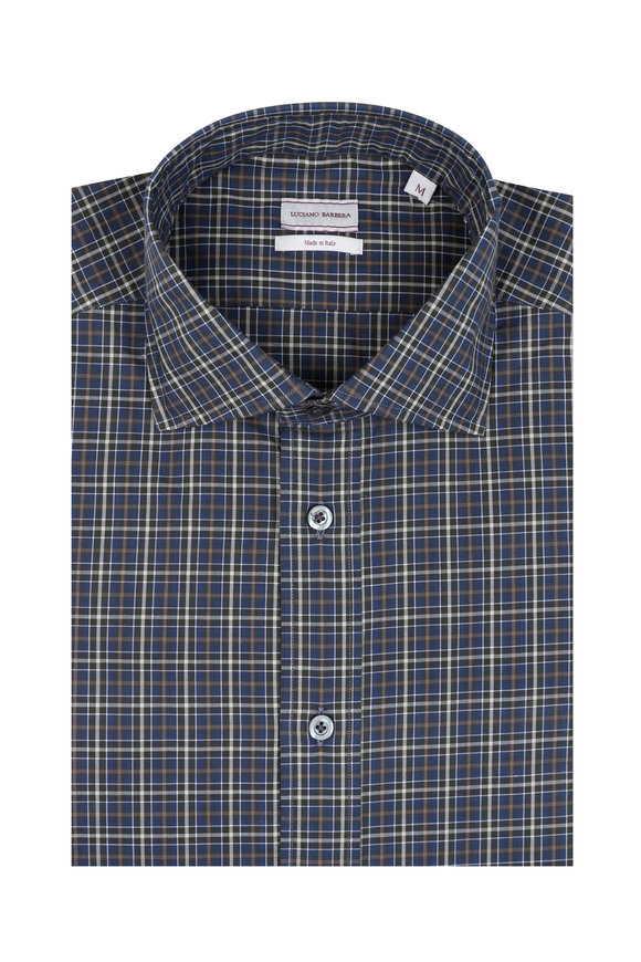 Luciano Barbera Navy Blue & Brown Plaid Sport Shirt