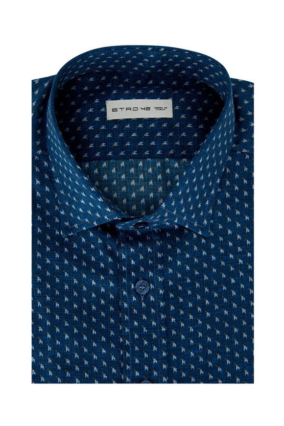 Etro Blue Geometric Sport Shirt