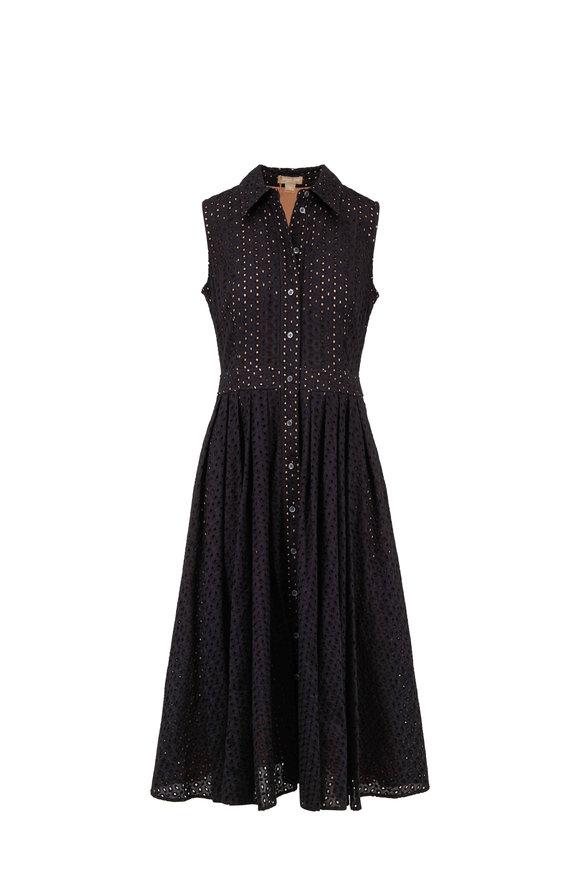 Michael Kors Collection Black & Nude Eyelet Shirt Dress