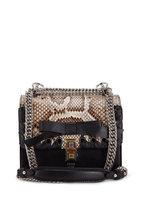 Fendi - Kan I Black Python & Leather Lace-Up Bow Bag