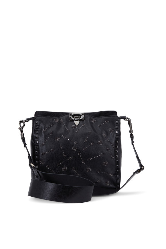 Valentino Garavani Rockstud Black HEART & ARROW Hobo Crossbody