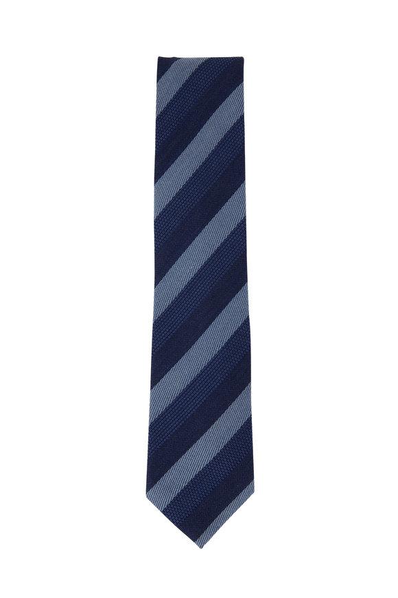 Brioni Blue Striped Wool Blend Necktie