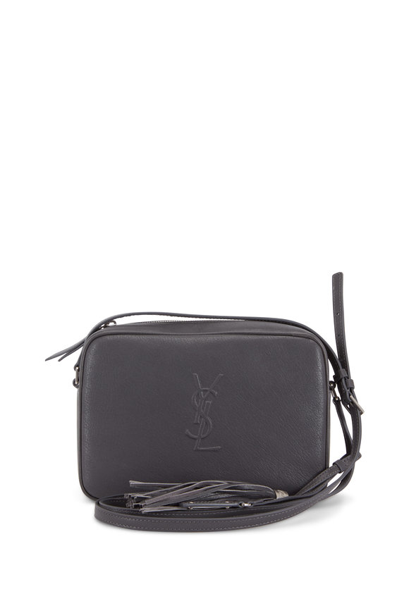 Saint Laurent Lou Monogram Storm Gray Leather Tassel Crossbody