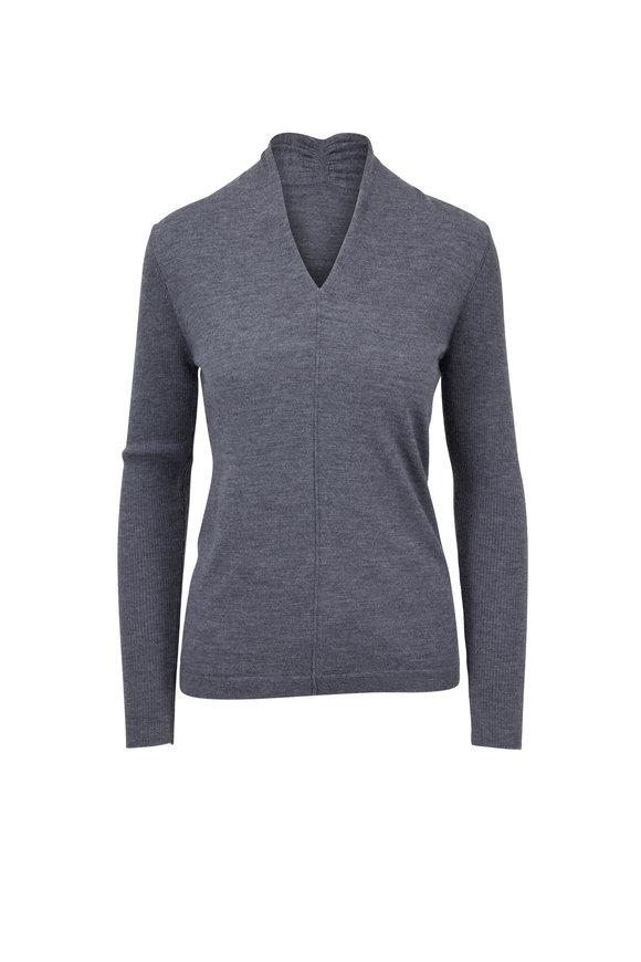 Kinross Pewter Cashmere Gathered V-Neck Sweater