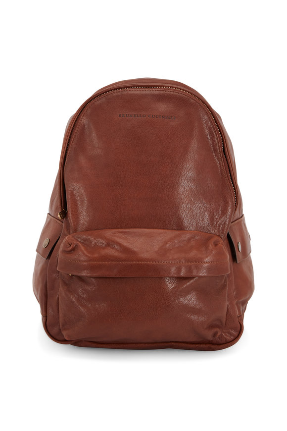 Brunello Cucinelli Medium Brown Leather Backpack