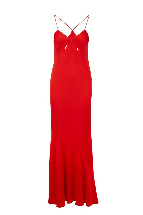 Galvan Lava Red Diamond Cut Out Gown