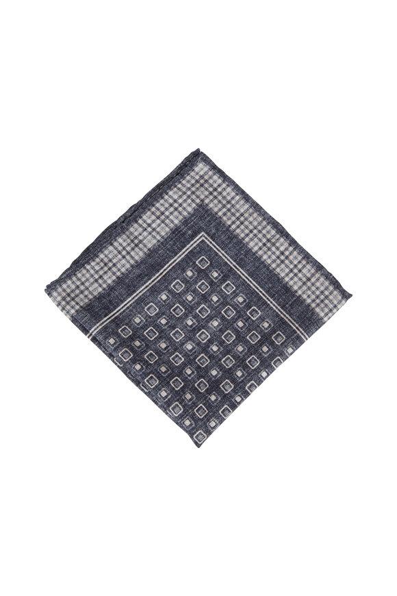 Brunello Cucinelli Gray & Tan Silk Plaid Trim Pocket Square