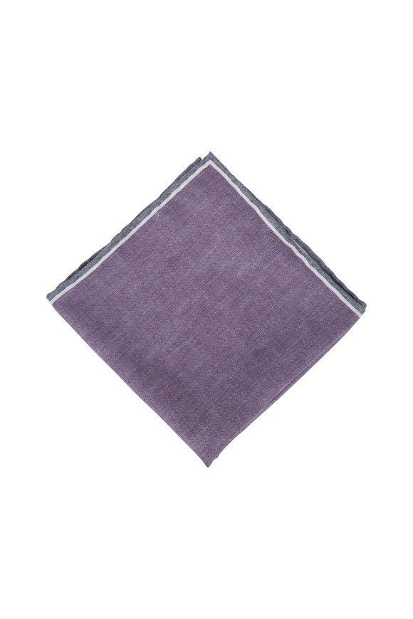 Brunello Cucinelli Purple & Gray Silk Pocket Square