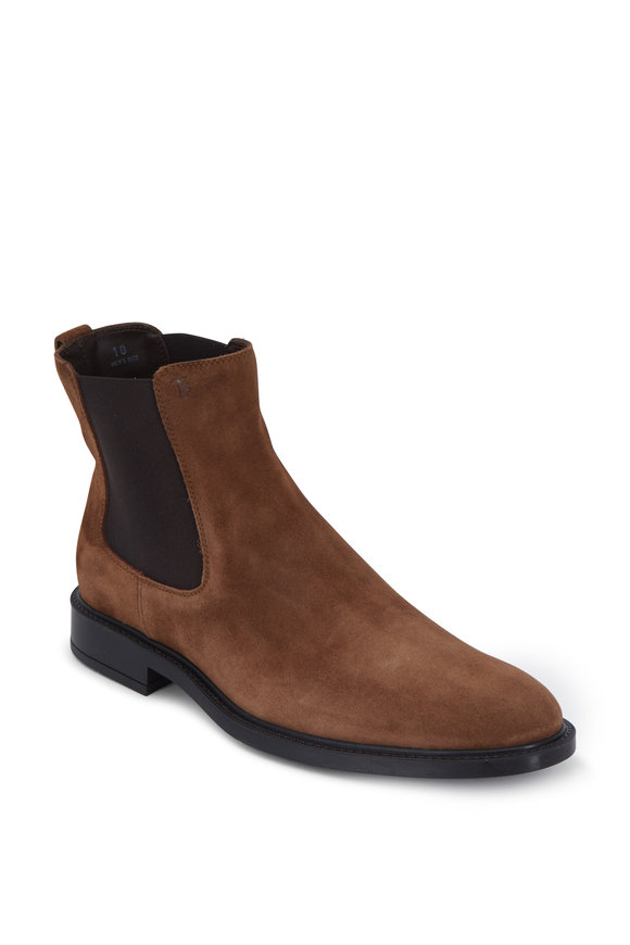 Tod's Gomma Medium Brown Suede Chelsea Boot