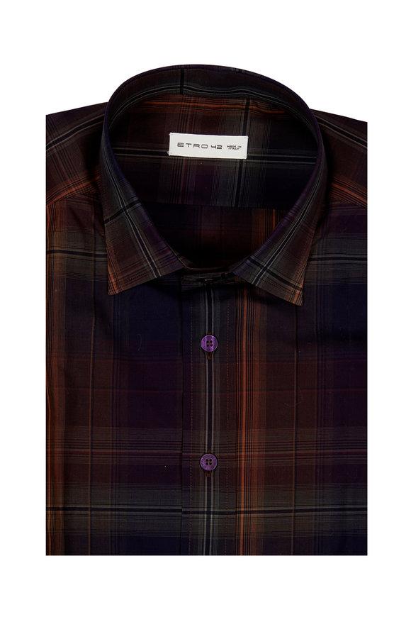 Etro Brown Multi-Plaid Sport Shirt