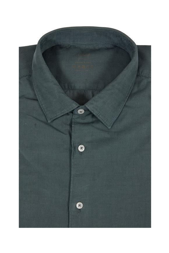 Altea Army Green Corduroy Sport Shirt