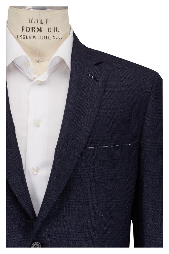 Brioni Navy Plaid Cashmere & Silk Sportcoat