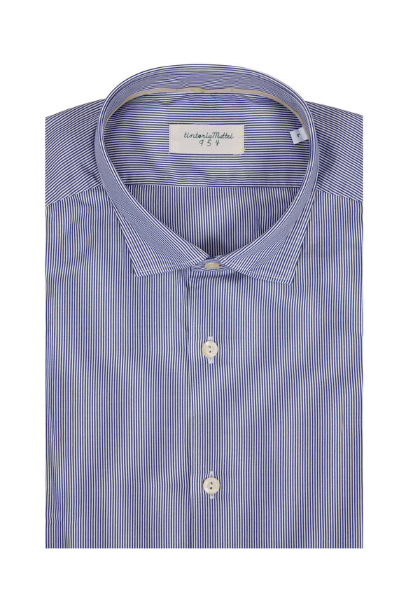 Tintoria Navy Blue Striped Sport Shirt