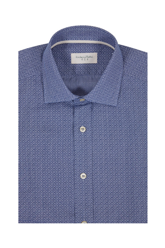 Tintoria Navy Blue Geometric Sport Shirt
