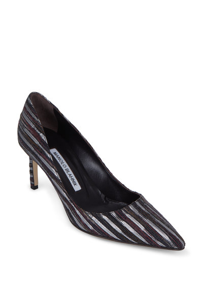 Manolo Blahnik - Lisa Silver & Bordeaux Textile Pump, 70mm