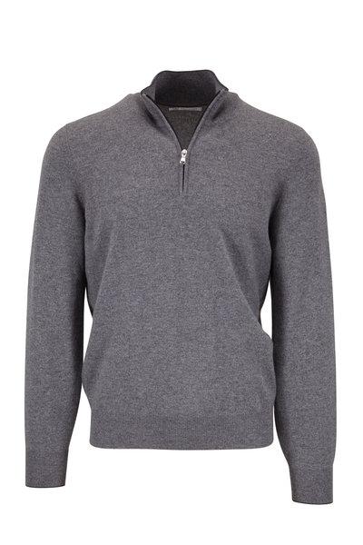 Brunello Cucinelli - Gray Cashmere Quarter-Zip Pullover