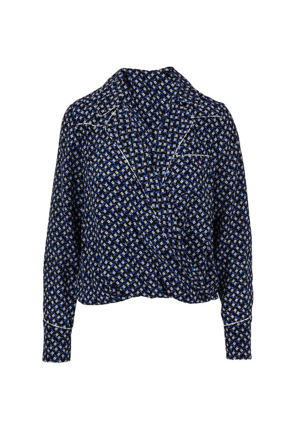 Veronica Beard Worth Black & Blue Silk Tulip Printed Blouse