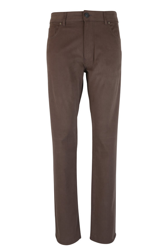 Luciano Barbera Brown Stretch Twill Five Pocket Pant
