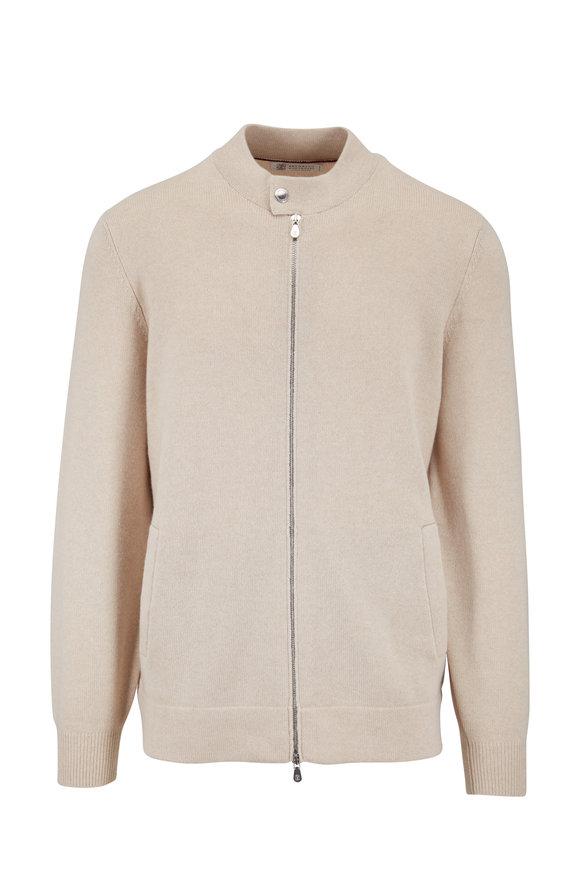 Brunello Cucinelli Sand Cashmere Full-Zip Cardigan