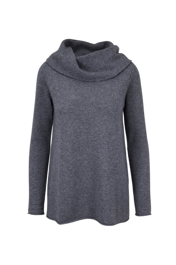Kinross Pewter Cashmere Cowl Neck Sweater