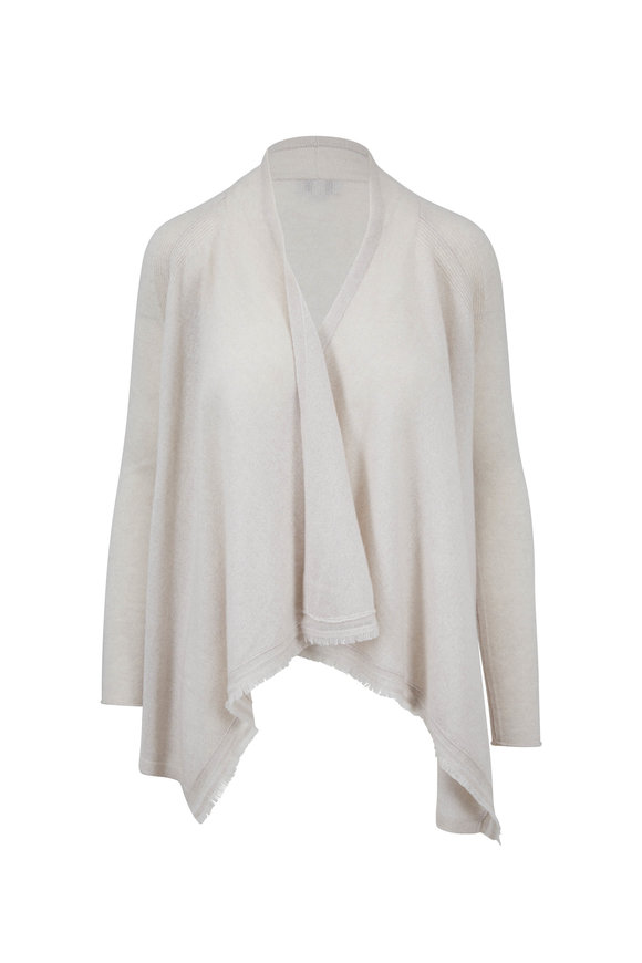 Kinross Birch Cashmere Draped Front Cardigan