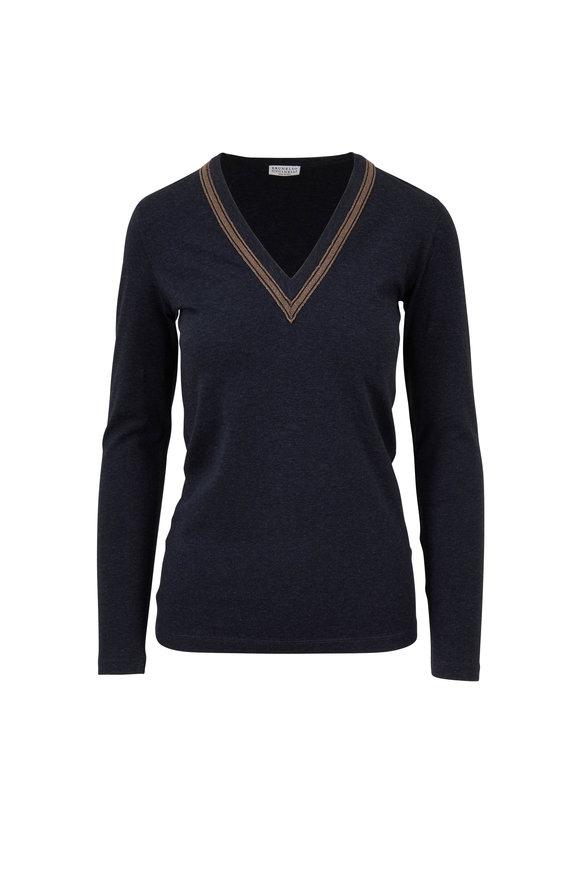 Brunello Cucinelli Anthracite Monili Trim V-Neck Long T-Shirt