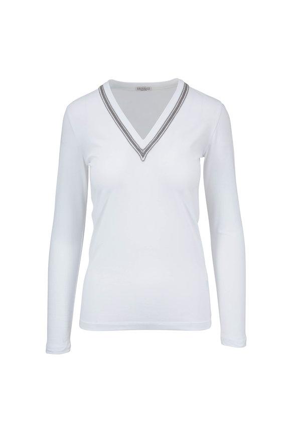 Brunello Cucinelli White Monili Trim V-Neck Long Sleeve T-Shirt
