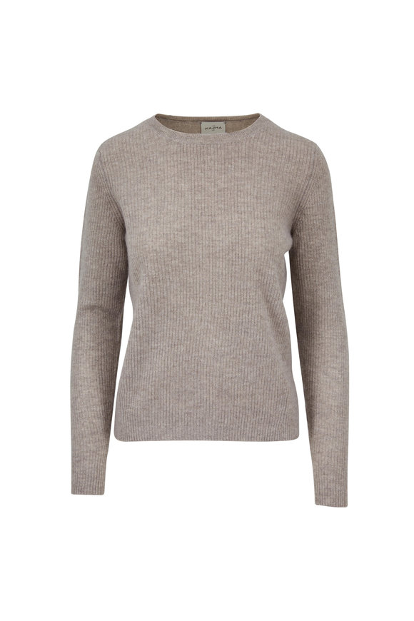 Le Kasha Dublin Light Brown Ribbed Cashmere Sweater