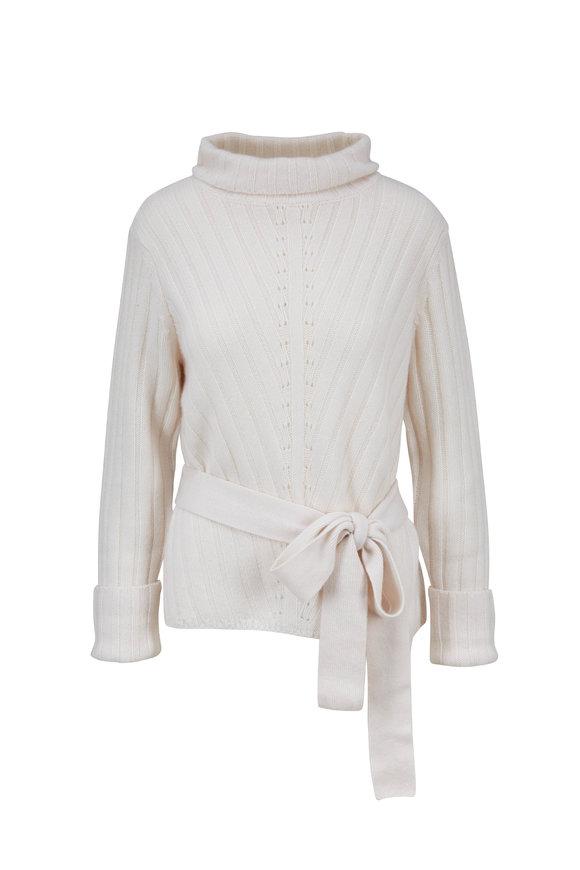 Le Kasha Lagoa New White Ribbed Cashmere Belted Sweater